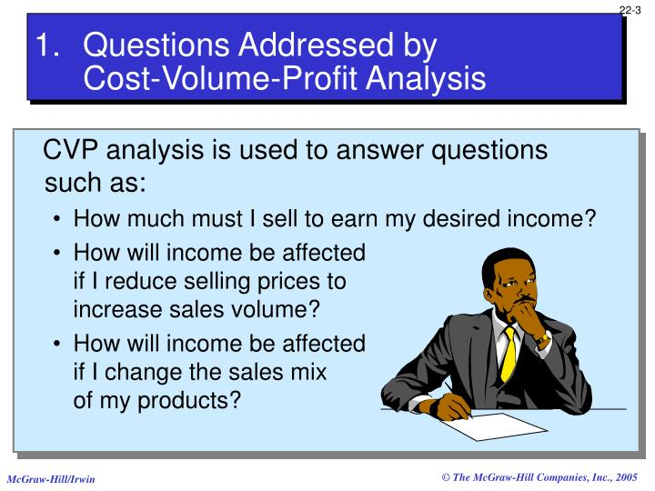 Questions addressed by cost volume profit analysis