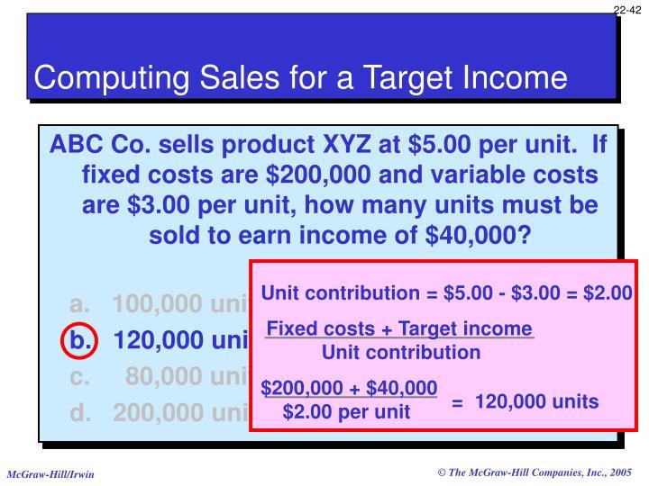 Unit contribution = $5.00 - $3.00 = $2.00