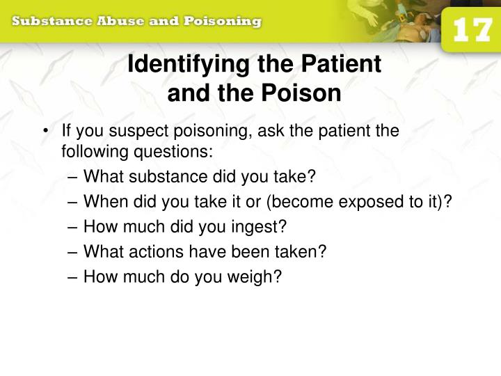 Identifying the patient and the poison