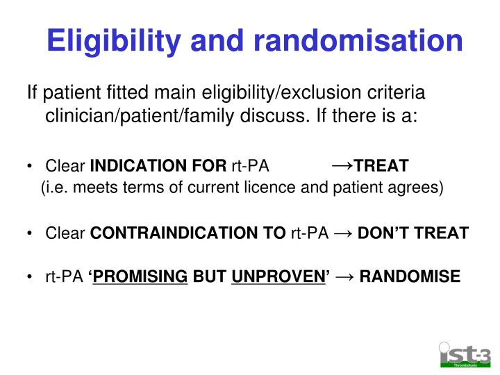 Eligibility and randomisation