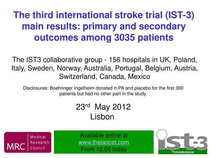 The third international stroke trial (IST-3) main results: primary and secondary outcomes among 3035...