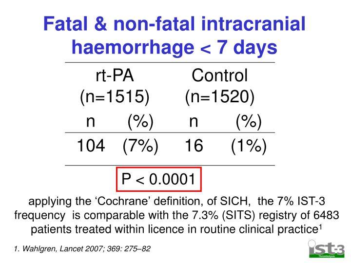 Fatal & non-fatal intracranial haemorrhage < 7 days