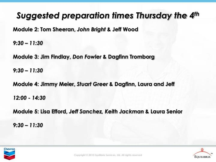 Suggested preparation times Thursday the 4
