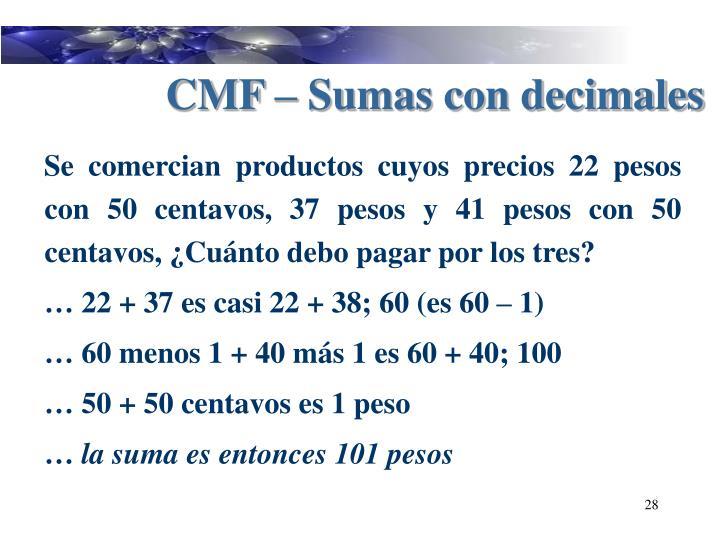 CMF – Sumas con decimales
