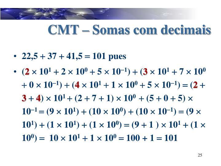 CMT – Somas com decimais