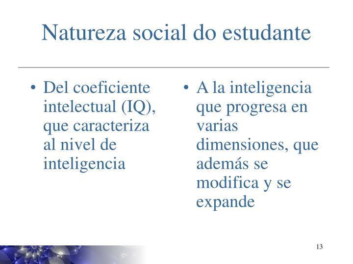Del coeficiente intelectual (IQ), que caracteriza al nivel de inteligencia