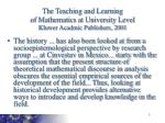 the teaching and learning of mathematics at university level kluwer acadmic publishers 2001