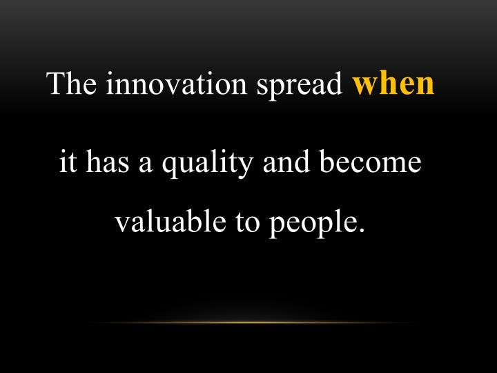 The innovation spread