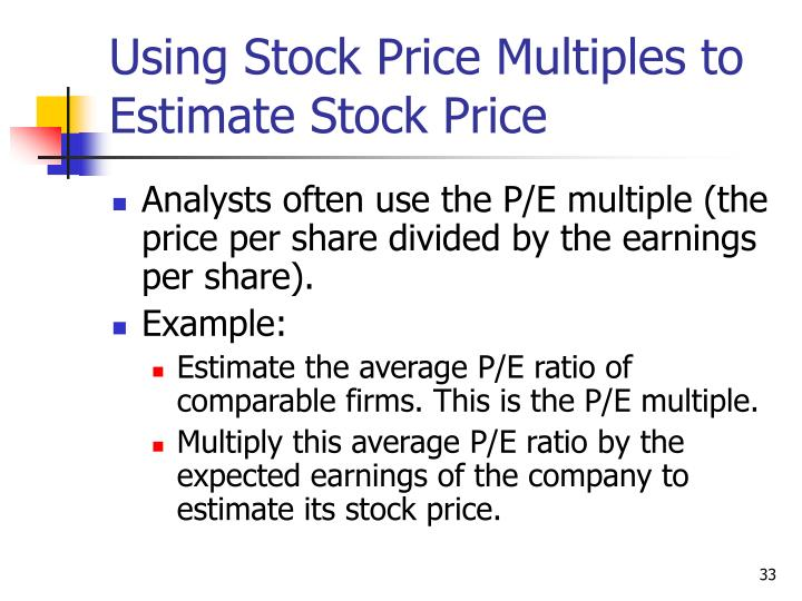Using Stock Price Multiples to Estimate Stock Price