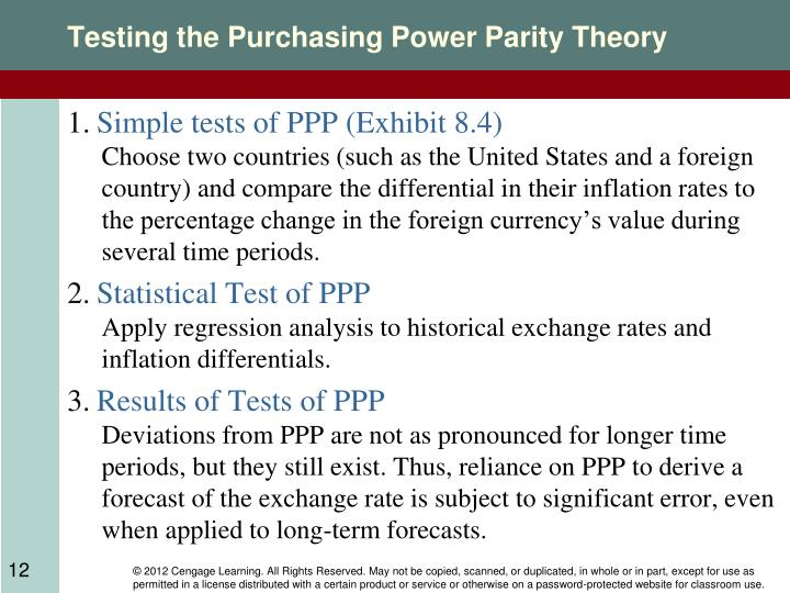examine purchasing power parity theory Extensive research has been carried out to examine the validity of the ppp hypothesis  modeling purchasing power parity theory, methodology and data.