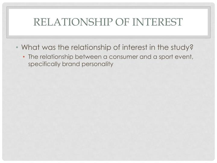 Relationship of interest