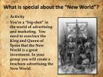 what is special about the new world