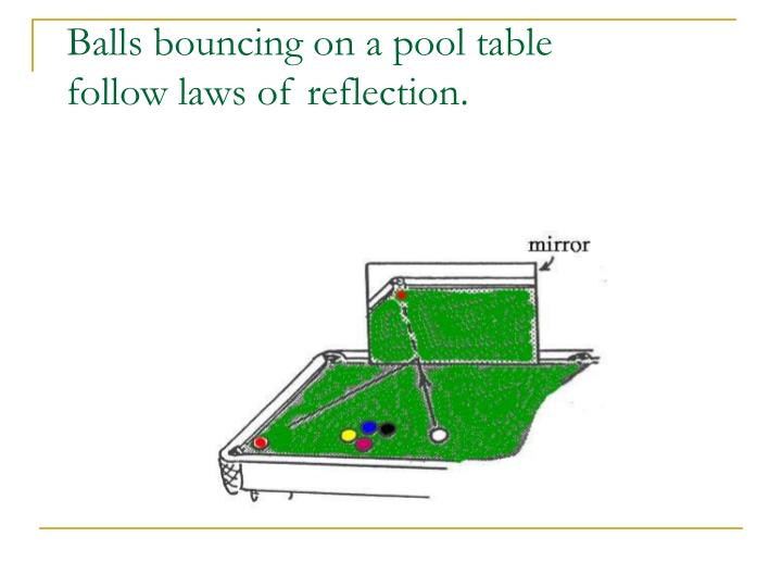 Balls bouncing on a pool table follow laws of reflection