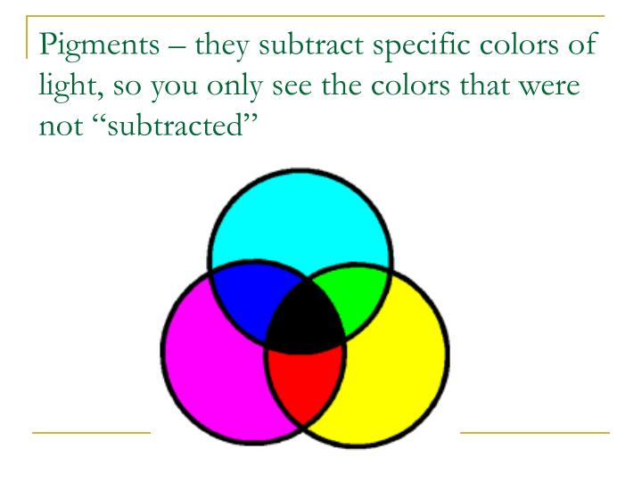 "Pigments – they subtract specific colors of light, so you only see the colors that were not ""subtracted"""