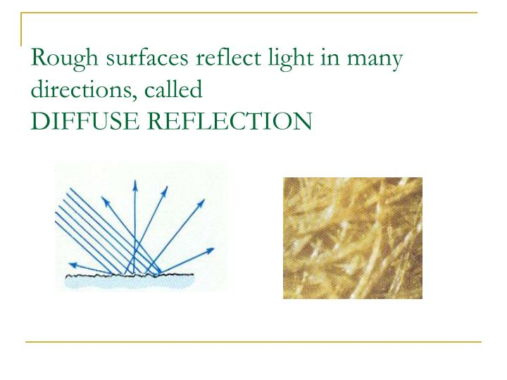 Rough surfaces reflect light in many directions, called