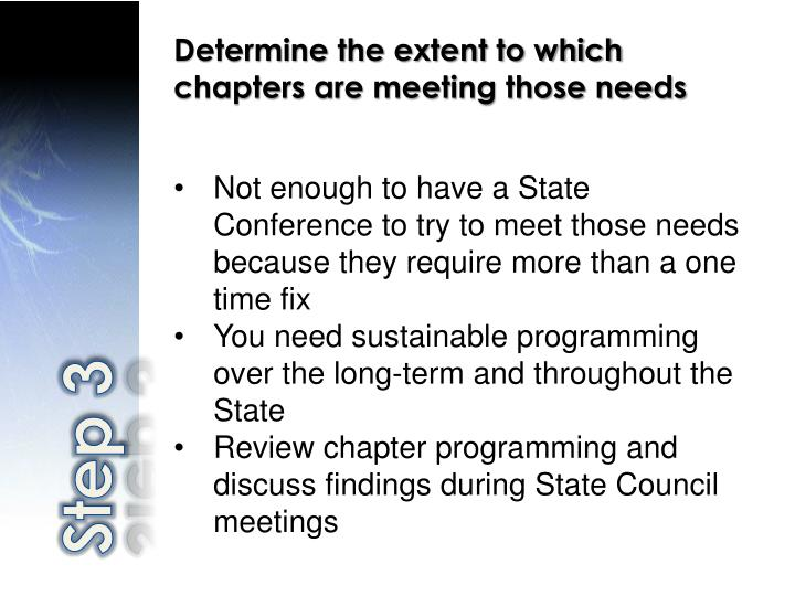 Determine the extent to which chapters are meeting those needs