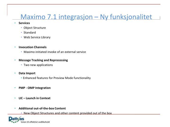 Maximo 7.1 integrasjon – Ny funksjonalitet