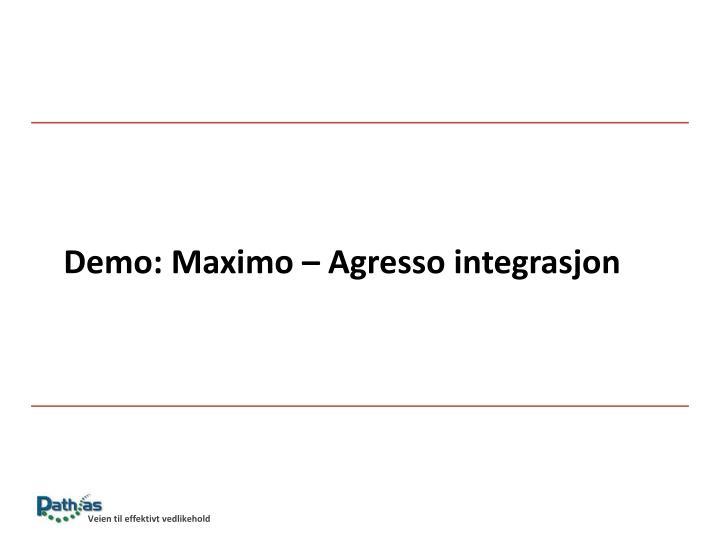 Demo: Maximo – Agresso integrasjon