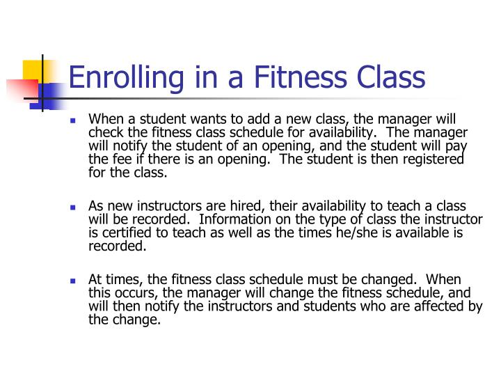 Enrolling in a Fitness Class