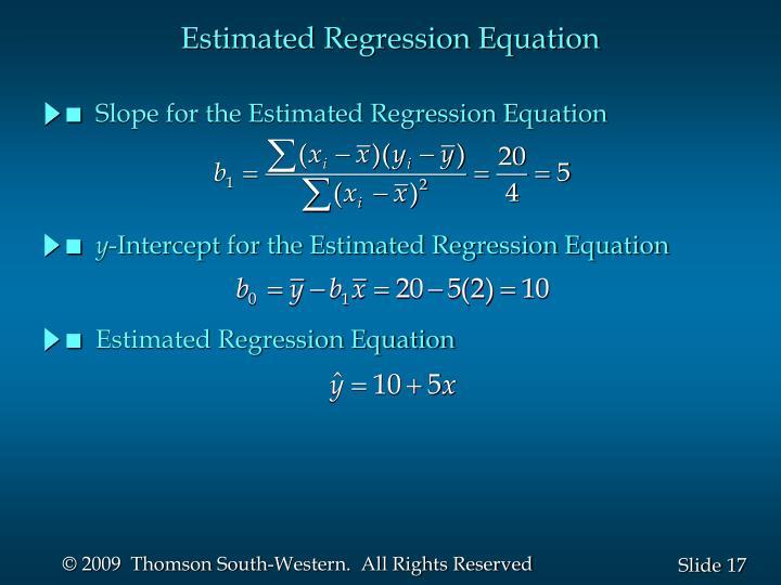 Estimated Regression Equation