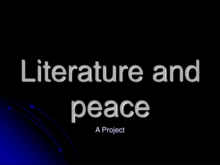 Literature and peace