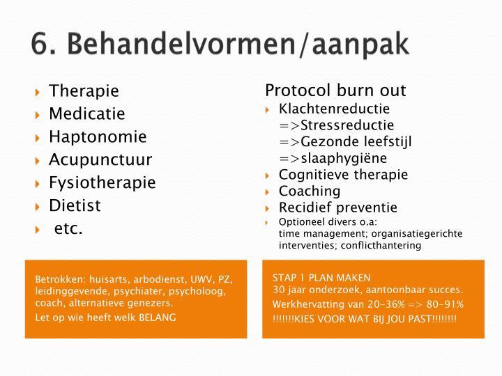 6. Behandelvormen/aanpak