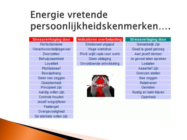 Energie vretende persoonlijkheidskenmerken….