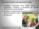 b para o direito internacional privado