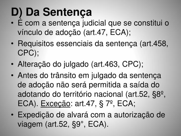 D) Da Sentença