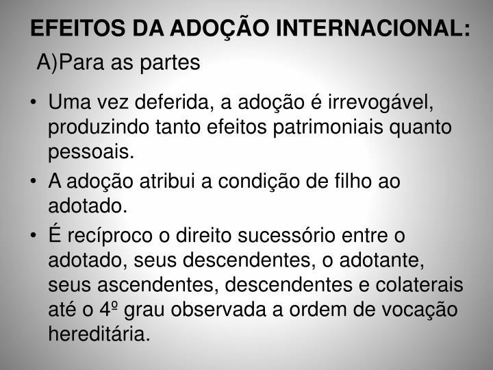 EFEITOS DA ADOÇÃO INTERNACIONAL: