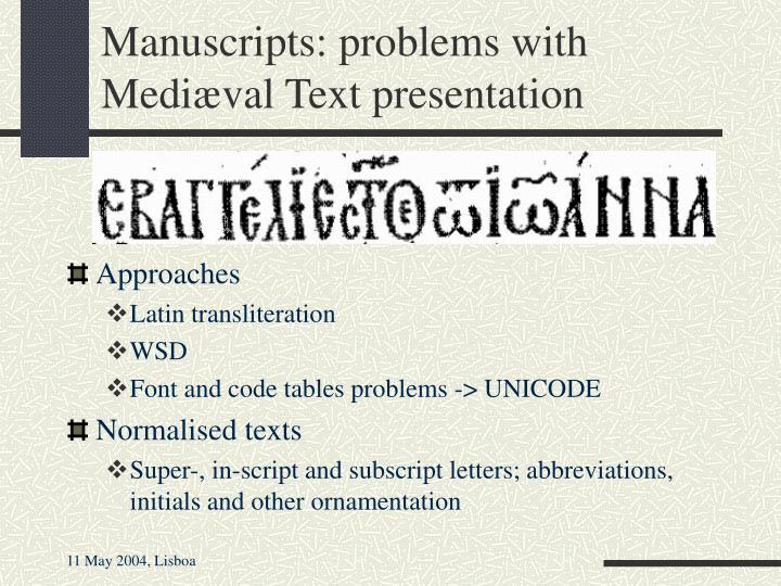 Manuscripts: problems with Medi