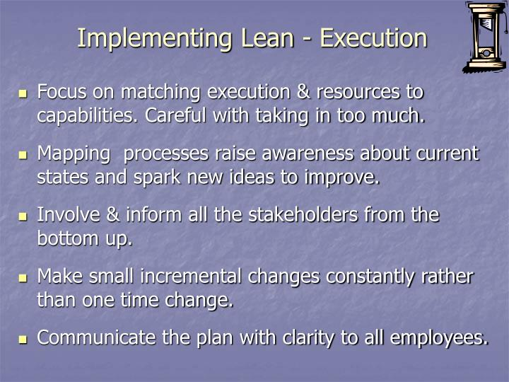 Implementing Lean - Execution