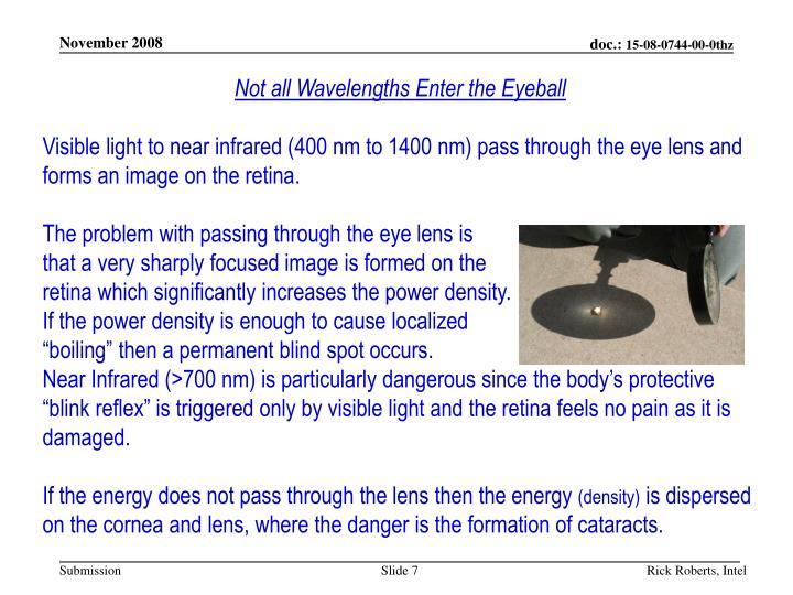 Not all Wavelengths Enter the Eyeball
