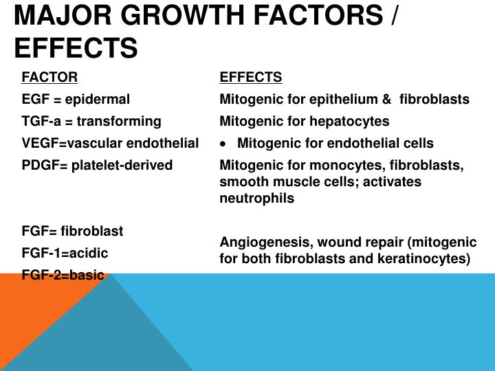 Major growth factors / effects
