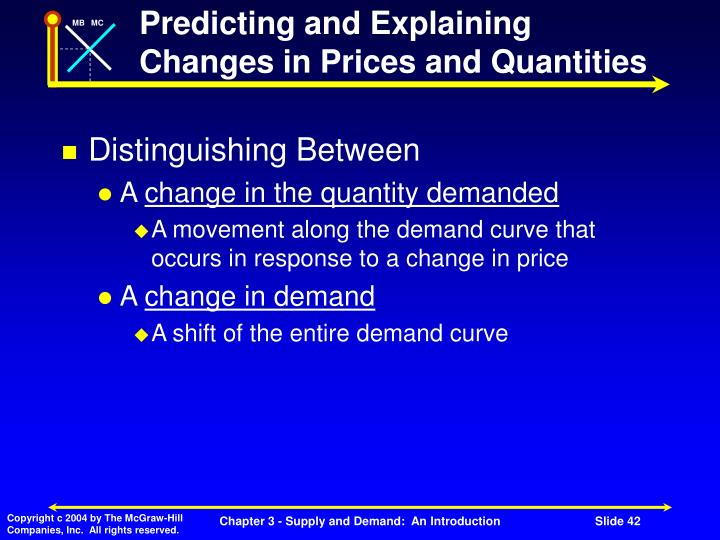 Predicting and Explaining Changes in Prices and Quantities
