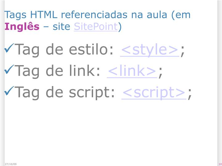 Tags HTML referenciadas na aula (em