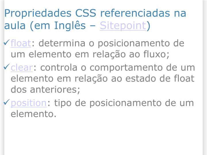 Propriedades CSS referenciadas na aula (em Inglês –