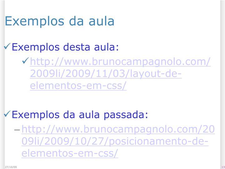 Exemplos da aula