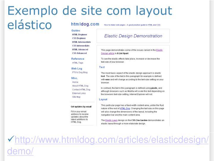 Exemplo de site com layout elástico