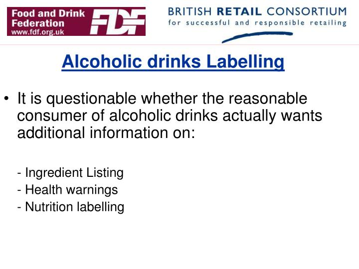 Alcoholic drinks Labelling