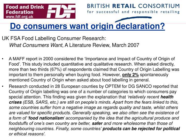 Do consumers want origin declaration?