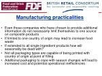 manufacturing practicalities