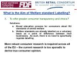 what is the aim of welfare standard labelling1