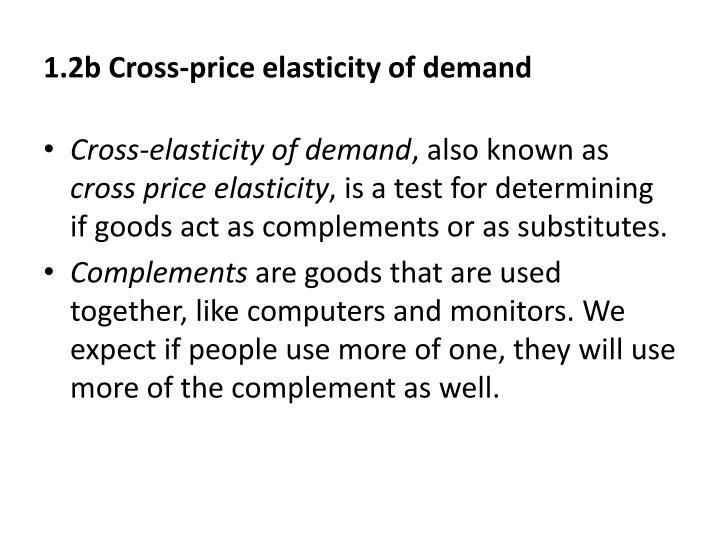 1.2b Cross-price elasticity of demand