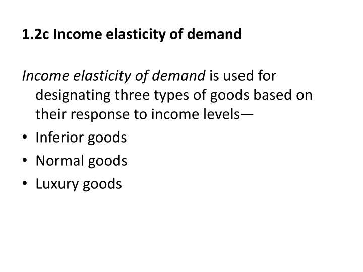 1.2c Income elasticity of demand