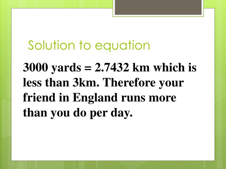 Solution to equation
