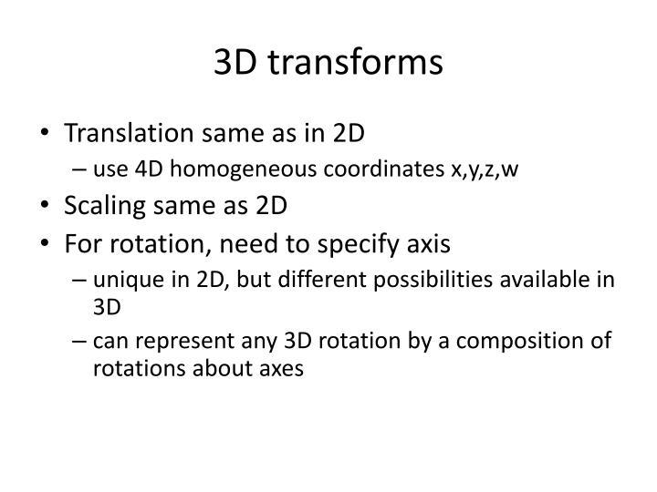 3D transforms