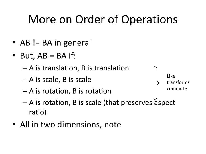 More on Order of Operations