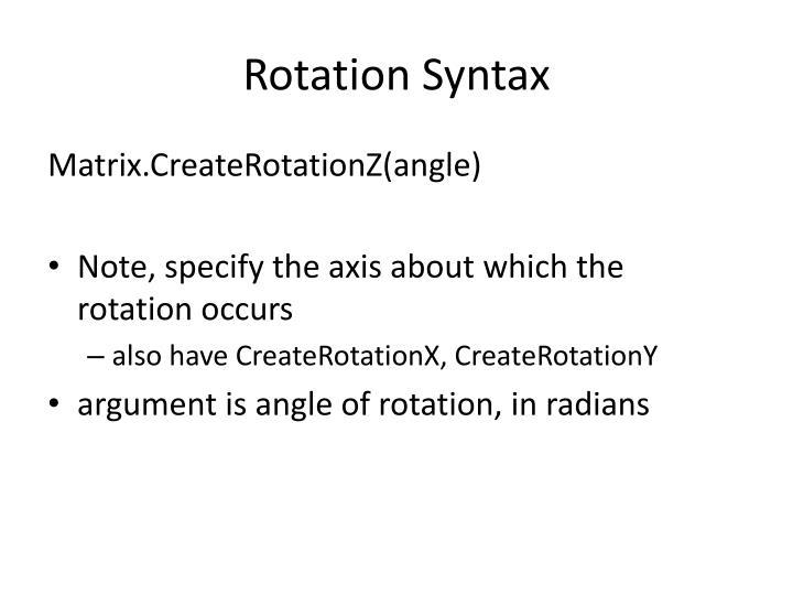 Rotation Syntax
