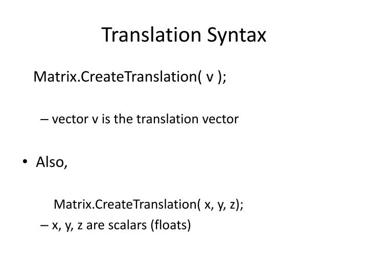 Translation Syntax